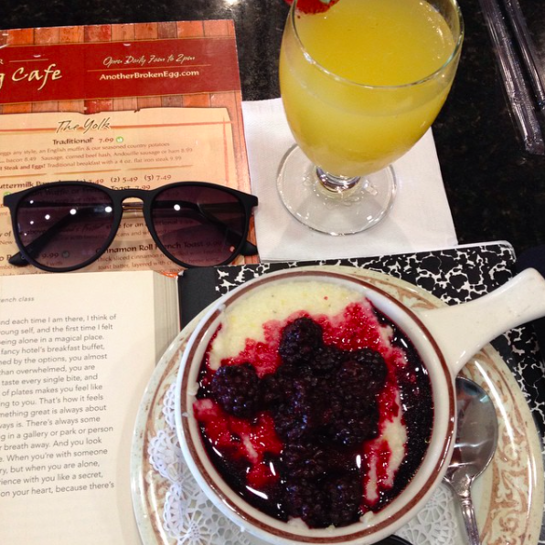 Blackberry Grits and Mimosa at Another Broken Egg